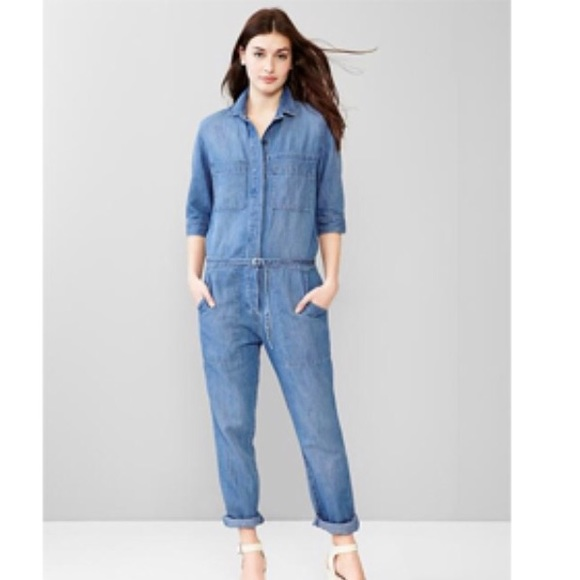 ff54c1c09163 GAP Pants - GAP Denim long Sleeve Denim Jumper Romper